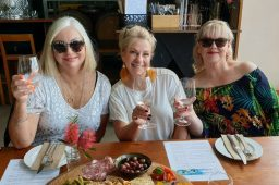 Ladies enjoying a glass of wine and tasting platter at Lucinda Estate