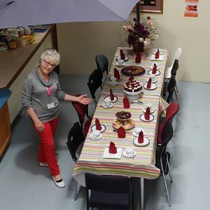 The table set for afternoon tea at Baw Baw food relief op shop